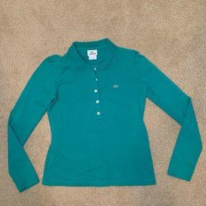 Lacoste Kelly green long sleeve polo